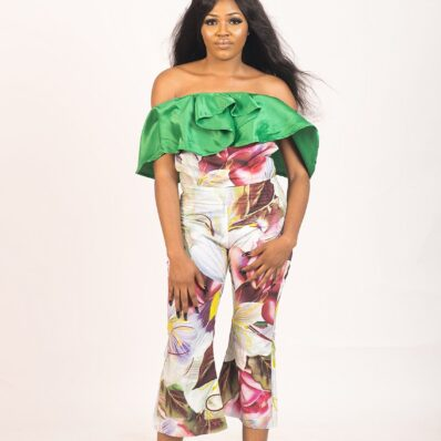 KIDAN DESIGNED Mix Coloured flared off-shoulder jumpsuit