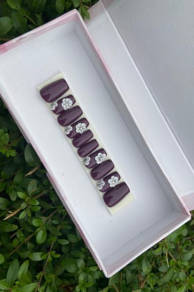 10pcs Plum with 3D Flower Press-on Nails