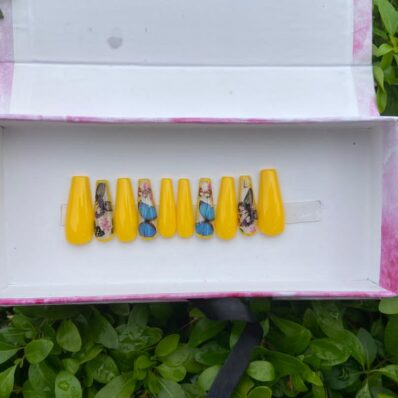 Yellow and Butterflies Press-on Nails