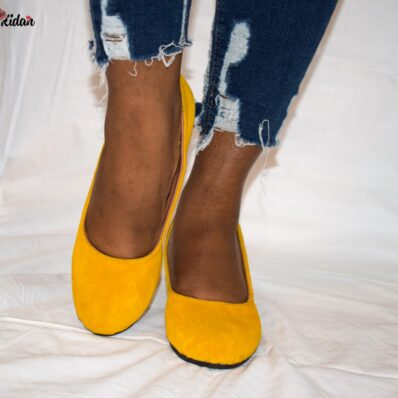 Yellow Velvet Low Heel