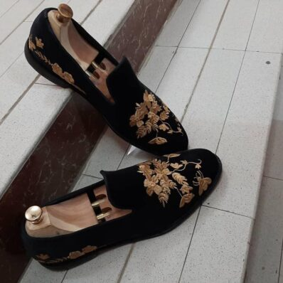 Gold Tapestry Loafers