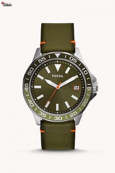 Fossil Bannon Three-Hand Date Green Leather Watch